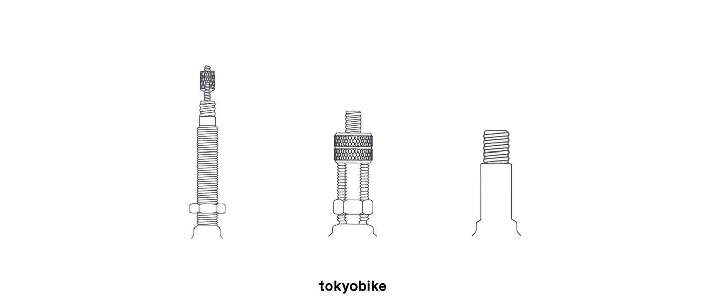bicycle tube valve รูปจุ๊บลมจักรยานแบบ หัวใหญ่ shrader หัวเล็ก presta และหัวไส่ไก่ dunlop