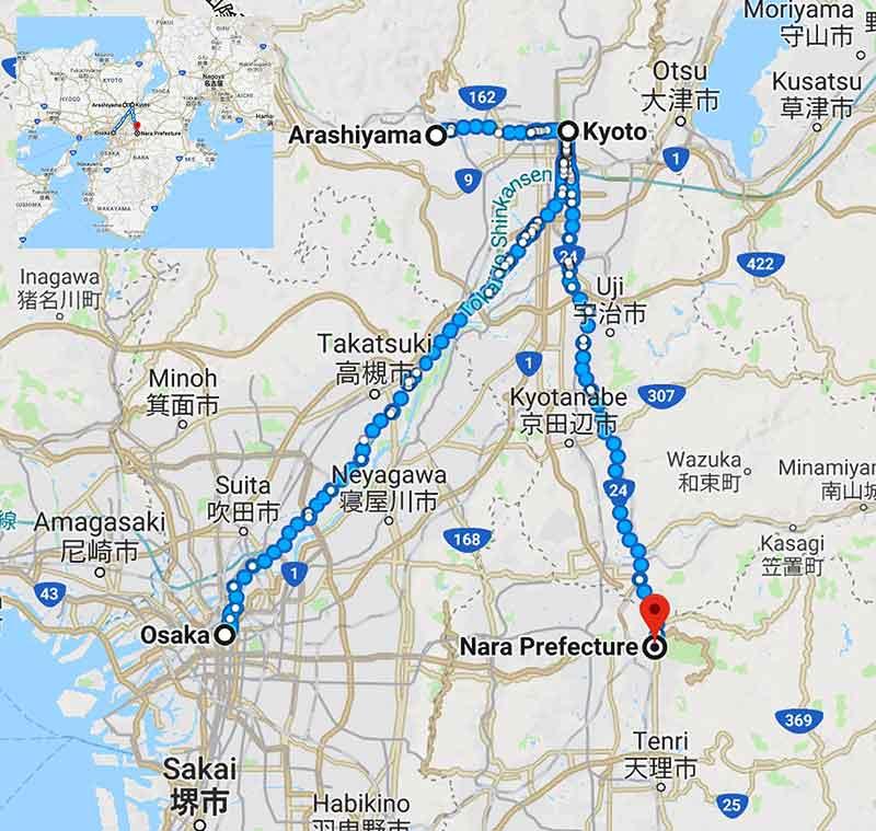 เส้นทางขี่จักรยาน osaka-kyoto-nara