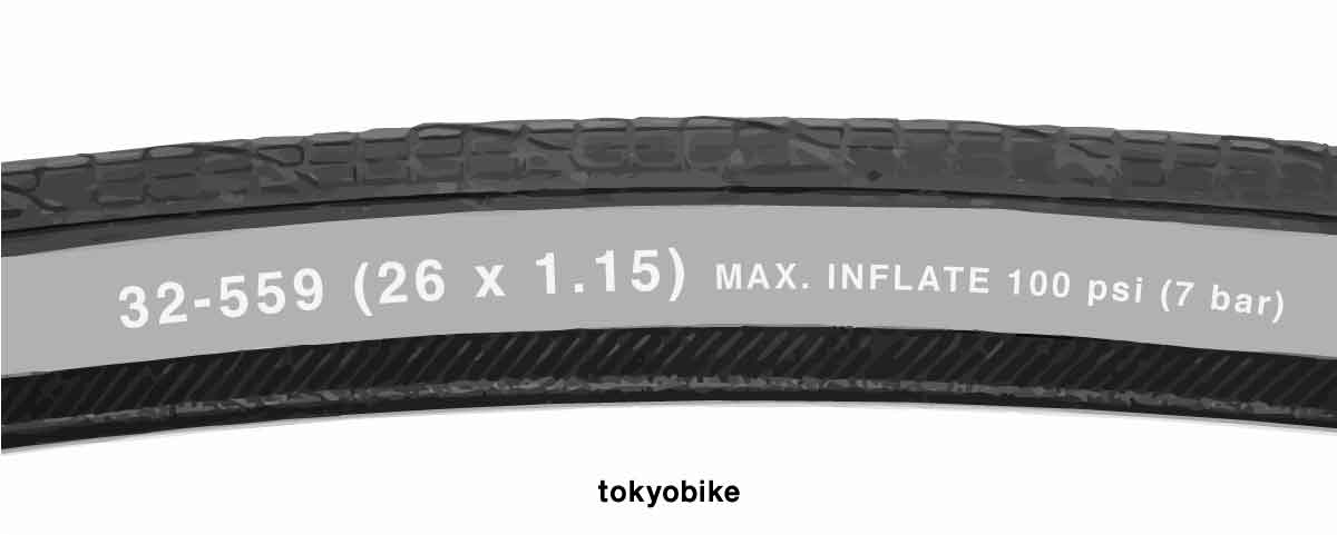 ขอบยางแสดงยางขนาด 26x1.15 ของจักรยาน tokyobike